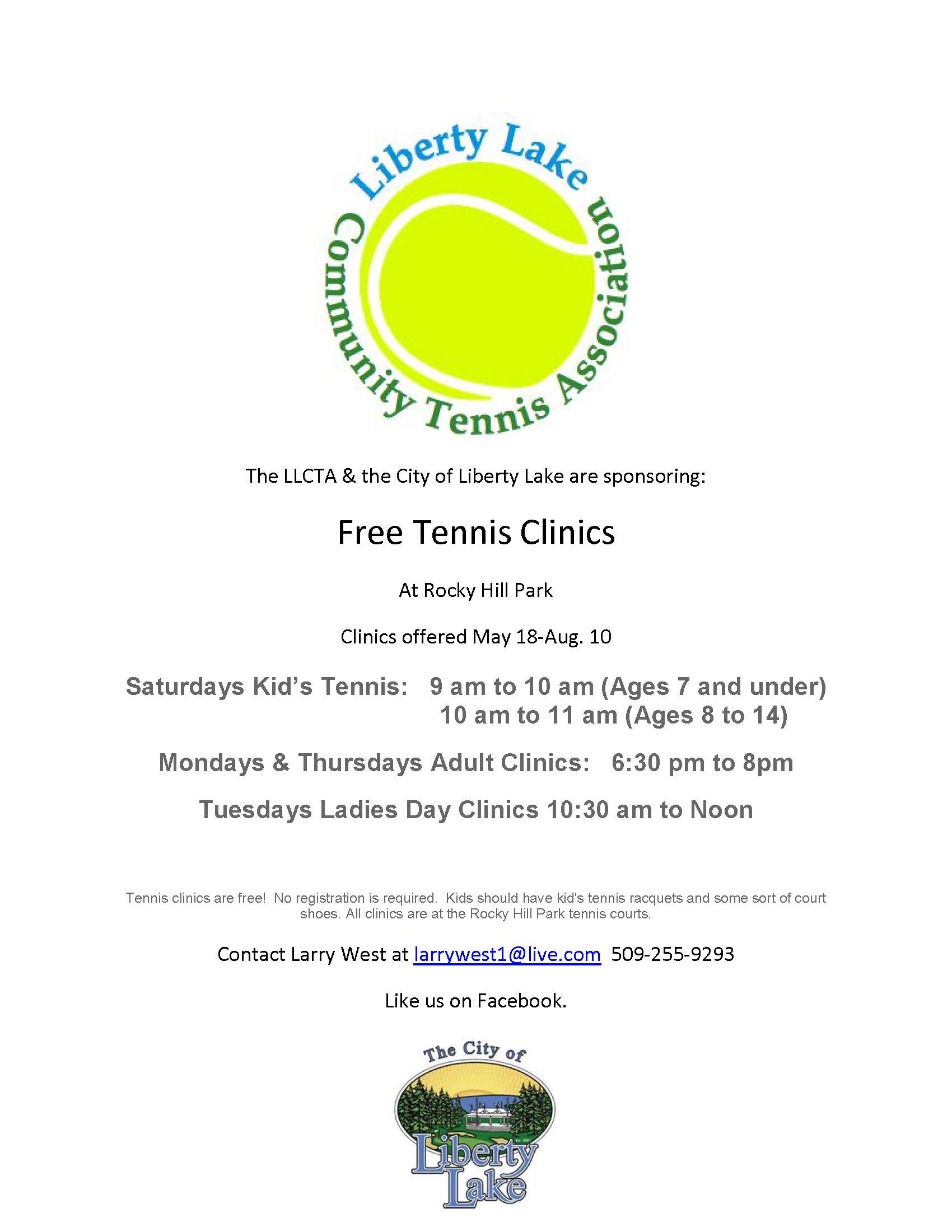 LLCTA Free Tennis Clinics 2019 Opens in new window